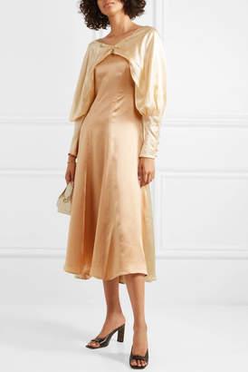 REJINA PYO Milena Color-block Draped Hammered Silk-satin Midi Dress - Peach