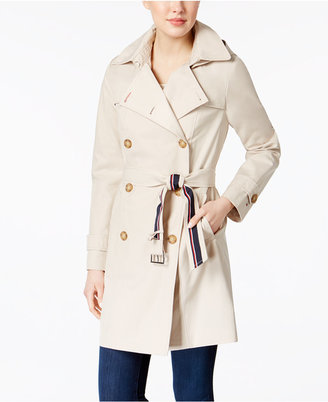 Tommy Hilfiger Hooded Water-Resistant Trench Coat $180 thestylecure.com