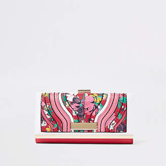River Island Red floral print cliptop purse
