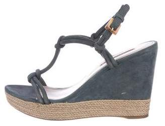 Prada Sport Knotted Suede Wedges