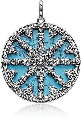 Thomas Sabo Blackened Sterling Silver Pendant w/Synthetic Turquoise and Cubic Zirconia