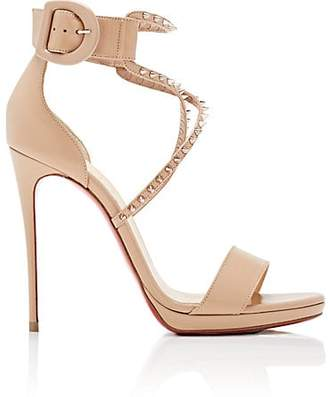 Christian Louboutin Women's Choca Lux Leather Platform Sandals - Nude, Pink bronze
