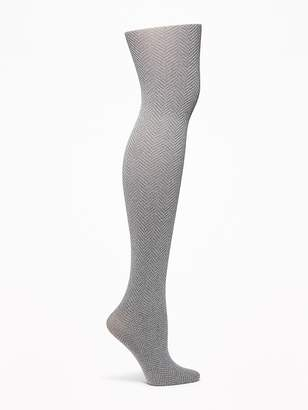 Old Navy Control-Top Mini Chevron-Printed Tights for Women