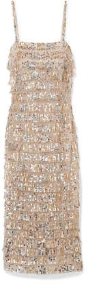 Monique Lhuillier Tiered Sequin-embellished Tulle Midi Dress - Silver