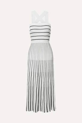 Sonia Rykiel Striped Ribbed-knit Cotton-blend Midi Dress - White