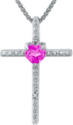 Silver Cross FINE JEWELRY Lab-Created Pink Sapphire and Diamond-Accent Sterling and Heart Pendant Necklace