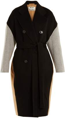 Acne Studios Cales colour-block double-breasted wool-blend coat