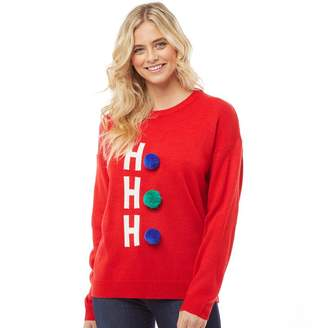 Brave Soul Womens HoHoHo Christmas Jumper With Pom Pom Fiery Red/Green/Blue