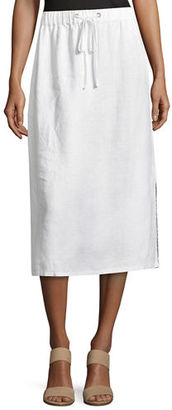 Eileen Fisher Heavy Organic Linen Midi Skirt $198 thestylecure.com