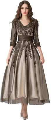 DressyMe Women's Modest Wedding Party Dresses Tea-Length 1/2 Sleeves Floral Lace