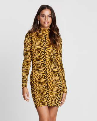 Missguided Animal Print High Neck Body-Con Dress