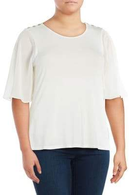 Calvin Klein Plus Ruffle-Sleeve Epaulette Top