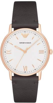 Emporio Armani Men's 'Kappa' Quartz Stainless Steel and Leather Casual Watch, Color (Model: AR11011)