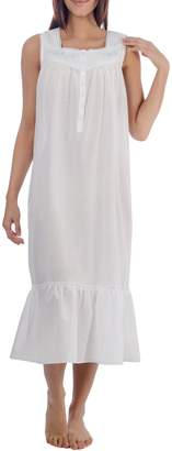 Jasmine Rose Embroidered Lace-Trimmed Nightgown
