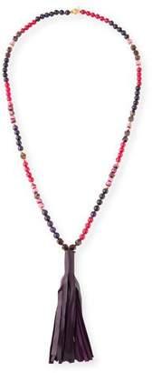 Akola Beaded Leather Tassel Necklace