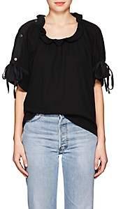 Yohji Yamamoto Regulation Women's Drawstring-Sleeve Cotton Blouse - Black