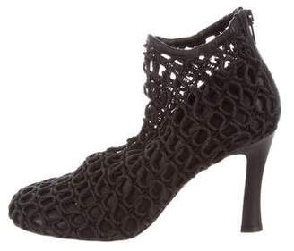 Celine Leather-Accented Cage Booties w/ Tags