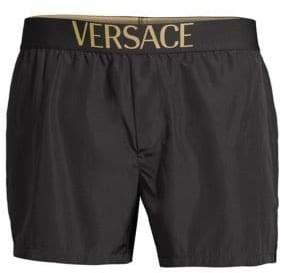Versace Logo Band Swim Trunks