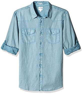 GUESS Men's Long Sleeve Walker Linen Western Shirt with Roll Tab