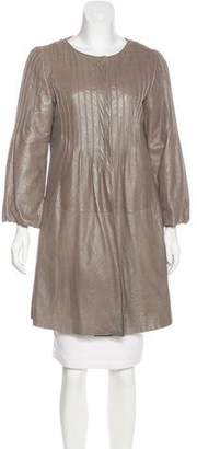 Armani Collezioni Leather Pleated Coat