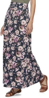 Juniors' Joe B Cinched Waist Floral Maxi Skirt