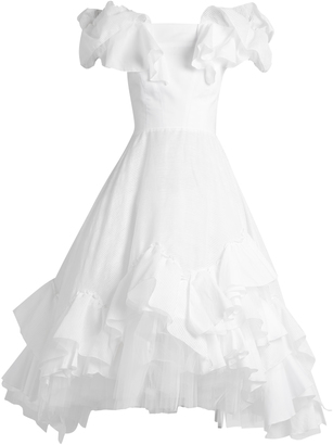 Off-the-shoulder ruffle-panelled cotton dress