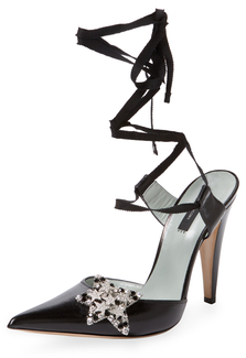 Star Leather Ankle-Wrap Pump