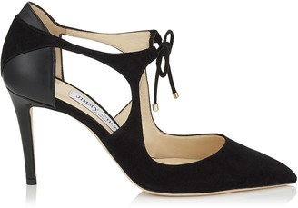 Jimmy Choo VANESSA 85 Black Suede and Nappa Leather Pointy Toe Pumps