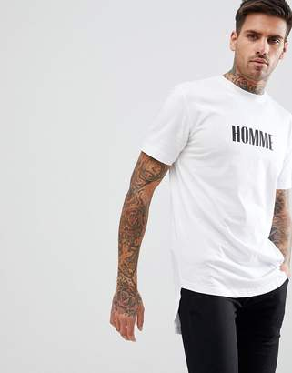 boohooMAN T-Shirt Homme Print In White