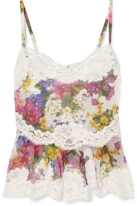 Dolce & Gabbana Lace-trimmed Floral-print Silk-blend Camisole - White