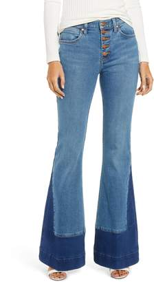 Wrangler Contrast Hem High Waist Flare Jeans