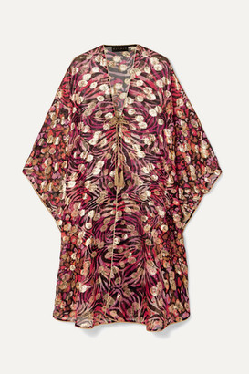 Dundas Metallic Fil Coupé Silk-blend Chiffon Kaftan - Red
