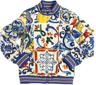 Dolce & Gabbana Maiolica Print Zip-Up Cotton Sweatshirt