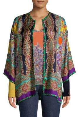Etro Multi-Psychedelic Reversible Print Silk Cardigan