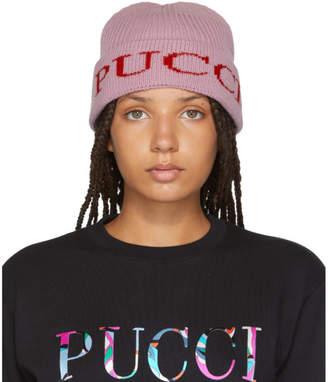 Emilio Pucci Pink Logo Ribbed Beanie