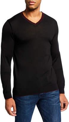 Jared Lang Men's Contrast Trim Wool-Blend Knit Sweater