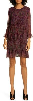 BA&SH Grace Ruffle Detail Chiffon Shift Dress