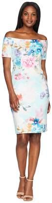 Calvin Klein Short Sleeve Floral Sheath Dress CD8M48DK Women's Dress
