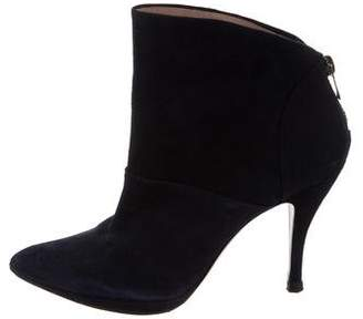 Pura Lopez Suede Pointed-Toe Ankle Boots