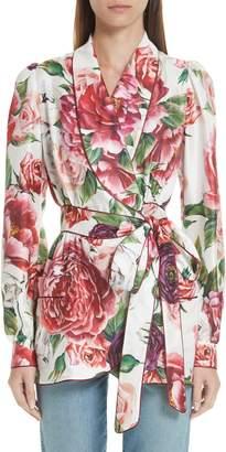 Dolce & Gabbana Peony Print Silk Jacket