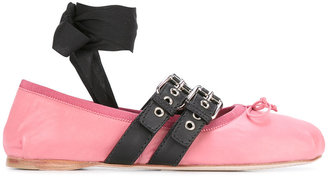 lace-up buckle ballerinas