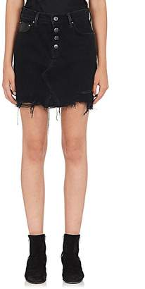 Amiri Women's Denim & Leather Miniskirt