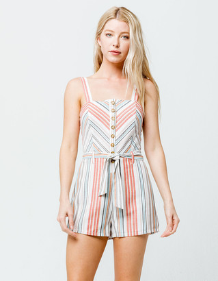 Sky And Sparrow Button Front Mitered Waist Tie Womens Romper