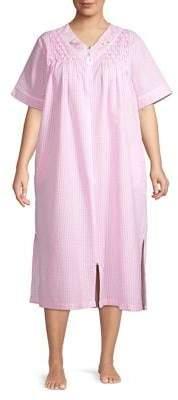 Miss Elaine Plus Seersucker Long Zip Nightgown