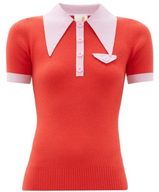 JoosTricot Exaggerated Point Collar Cotton Blend Polo Shirt - Womens - Red