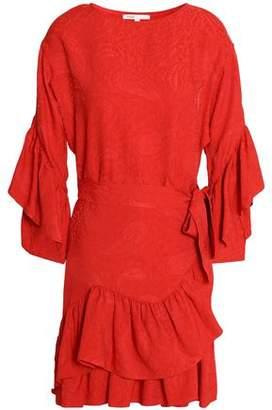Maje Tiered Ruffled Jacquard Mini Dress