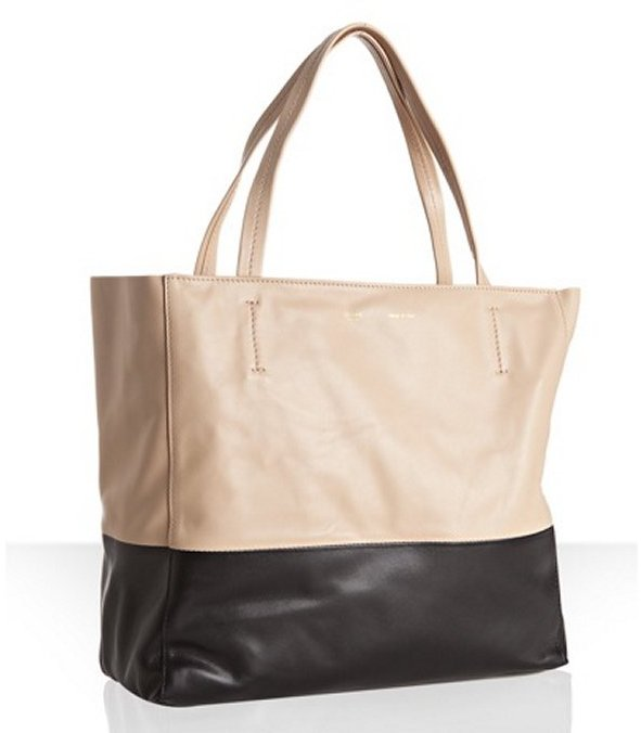 Celine nude and black two-tone leather tote