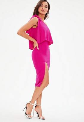 Missguided Pink Crepe One Shoulder Bow Sleeve Midi Dress