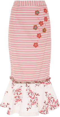 ROOPA Fiha Midi Frill Skirt With Hand Embroidered Florals