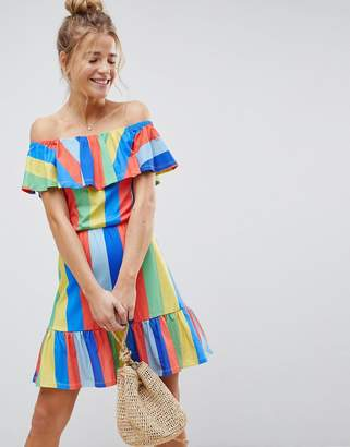 Asos DESIGN Off Shoulder Sundress With Tiered Skirt In Rainbow Stripe